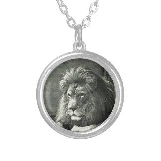 Lion Illustration Silver Plated Necklace