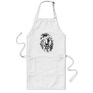 Lion in abstract lines long apron