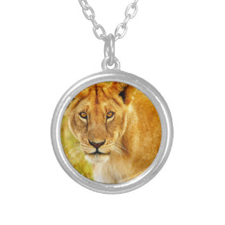 Lion in Field Silver Plated Necklace