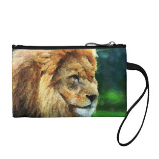 Lion In Nature Impressionist Art Coin Wallets