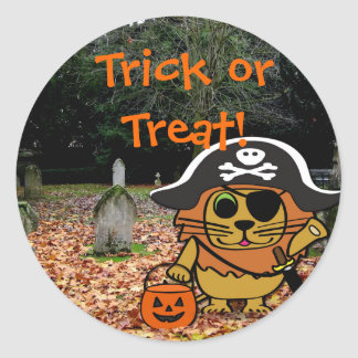 Lion in Pirate Costume in a Graveyard Round Sticker