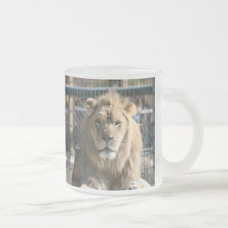 Lion in the Sun Frosted Glass Coffee Mug