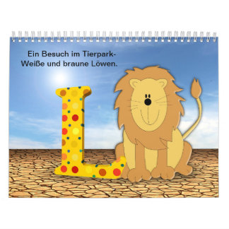 Lion in the zoo wall calendar