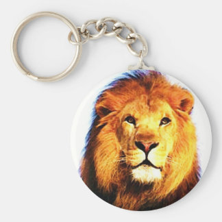 Lion Basic Round Button Keychain