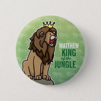 Lion King of the Jungle, Add Child's Name 2 Inch Round Button