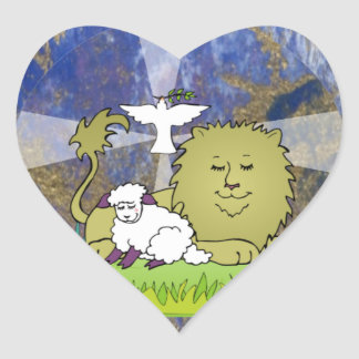 Lion Lamb and Dove Heart Sticker