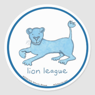 Lion League round stickers