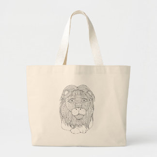 Lion Line Art Design Large Tote Bag