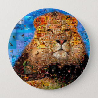 lion - lion collage - lion mosaic - lion wild 4 inch round button