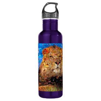 lion - lion collage - lion mosaic - lion wild 710 ml water bottle