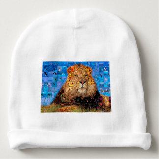 lion - lion collage - lion mosaic - lion wild baby beanie