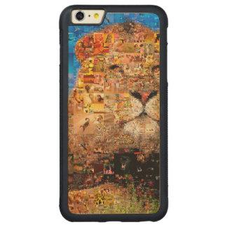 lion - lion collage - lion mosaic - lion wild carved maple iPhone 6 plus bumper case