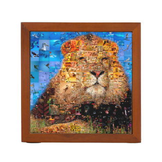 lion - lion collage - lion mosaic - lion wild desk organizer