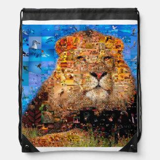 lion - lion collage - lion mosaic - lion wild drawstring bag