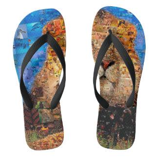lion - lion collage - lion mosaic - lion wild flip flops