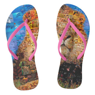 lion - lion collage - lion mosaic - lion wild flip flops