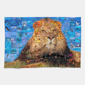lion - lion collage - lion mosaic - lion wild kitchen towel