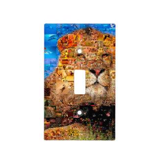lion - lion collage - lion mosaic - lion wild light switch cover