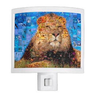 lion - lion collage - lion mosaic - lion wild night light