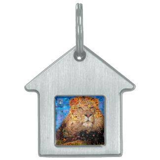 lion - lion collage - lion mosaic - lion wild pet ID tag
