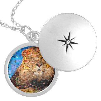 lion - lion collage - lion mosaic - lion wild silver plated necklace