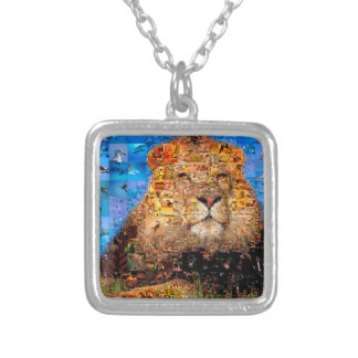 lion - lion collage - lion mosaic - lion wild silver plated necklace