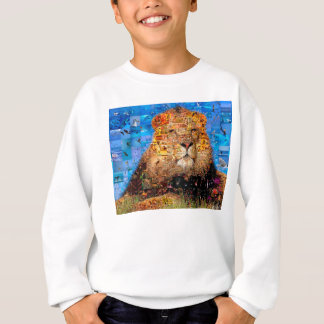 lion - lion collage - lion mosaic - lion wild sweatshirt