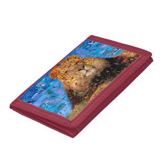 lion - lion collage - lion mosaic - lion wild tri-fold wallet