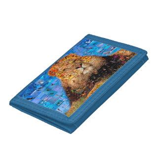 lion - lion collage - lion mosaic - lion wild tri-fold wallets