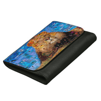 lion - lion collage - lion mosaic - lion wild wallets for women