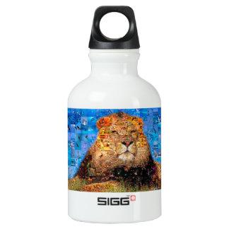 lion - lion collage - lion mosaic - lion wild water bottle