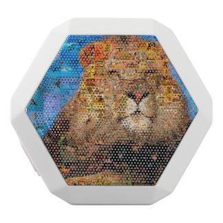 lion - lion collage - lion mosaic - lion wild white bluetooth speaker