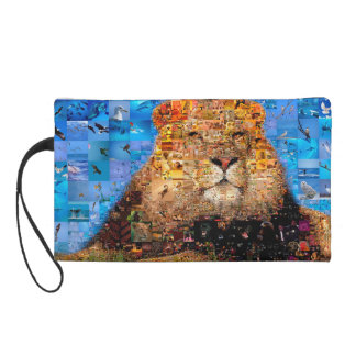 lion - lion collage - lion mosaic - lion wild wristlet