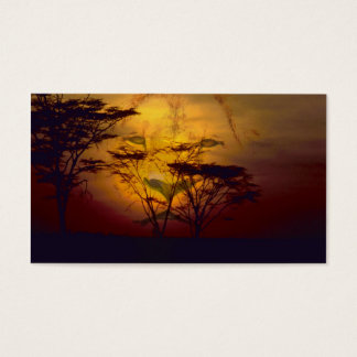 Lion Looking Over African Sunset Business Card