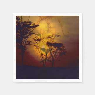 Lion Looking Over African Sunset Disposable Napkin