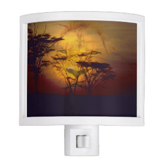Lion Looking Over African Sunset Nite Light