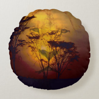 Lion Looking Over African Sunset Round Pillow