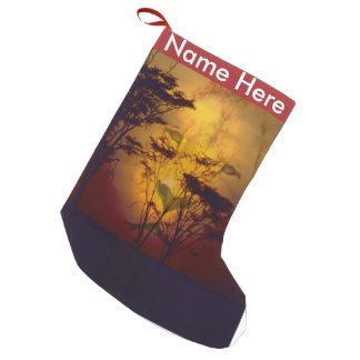 Lion Looking Over African Sunset Small Christmas Stocking