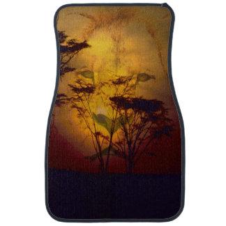 Lion Looking Over African Sunset Car Mat