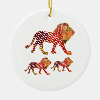 LION -  Majestic KING of animals Round Ceramic Ornament