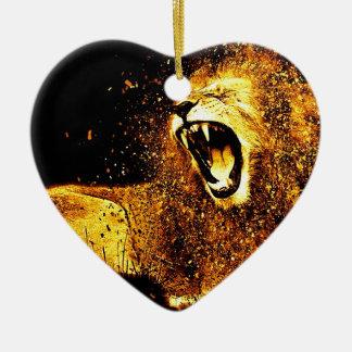 Lion Mane Hair Fur Cat Predator Males Head Ceramic Ornament