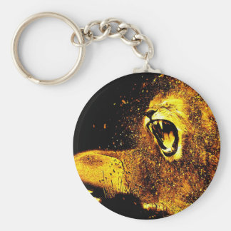 Lion Mane Hair Fur Cat Predator Males Head Keychain