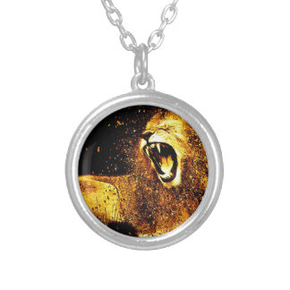 Lion Mane Hair Fur Cat Predator Males Head Silver Plated Necklace