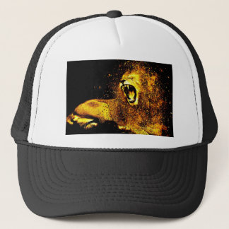 Lion Mane Hair Fur Cat Predator Males Head Trucker Hat
