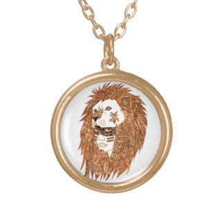 Lion Mask Gold Plated Necklace