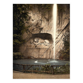Lion Monument, and fountain, Lucerne, Switzerland Postcard