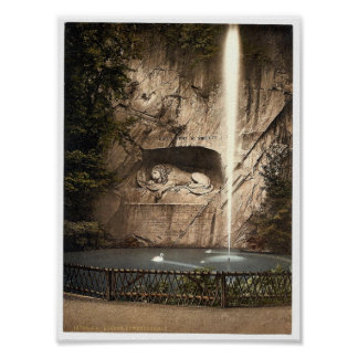 Lion Monument, and fountain, Lucerne, Switzerland Poster