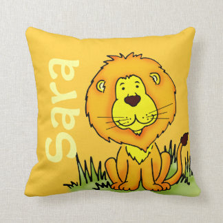 Lion name and birth newborn gift yellow pillow