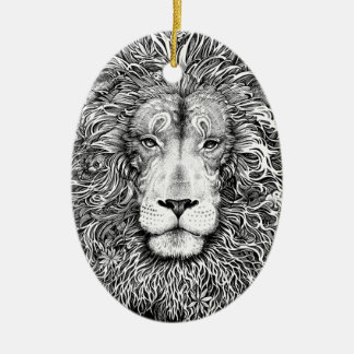 Lion nest black and white ceramic ornament