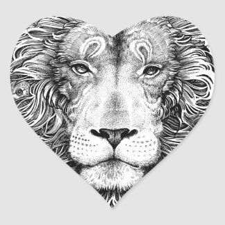 Lion nest black and white heart sticker